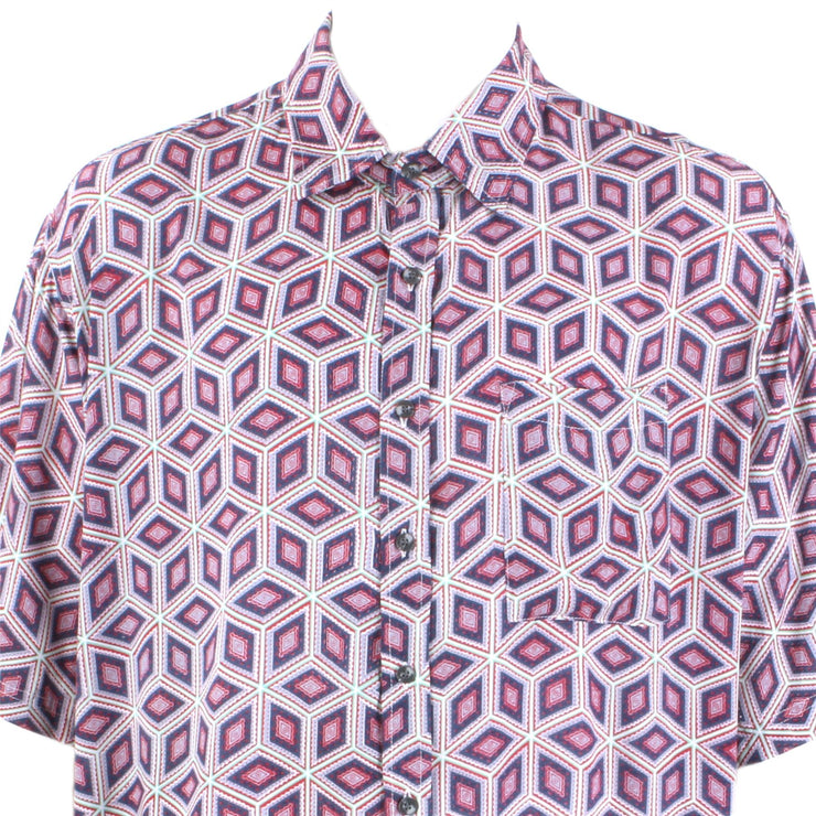 Regular Fit Short Sleeve Shirt - Purple & Pink Abstract Diamonds