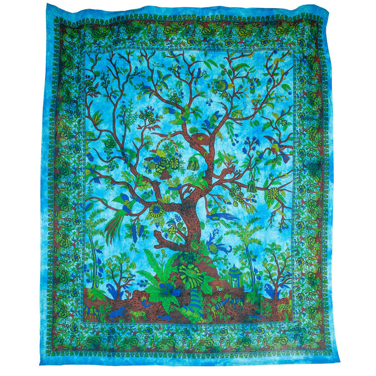 Block Printed Tree of Life Wall Hanging - Teal