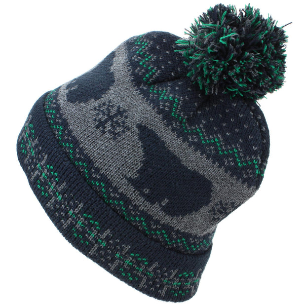 Childrens Fine Knit Bobble Beanie Hat with Polar Bear Print - Navy & Green