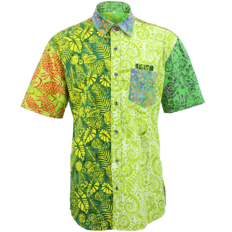 Regular Fit Short Sleeve Shirt - Random Mixed Batik - Bright Green