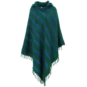 Vegan Wool Hooded Poncho - Green & Blue