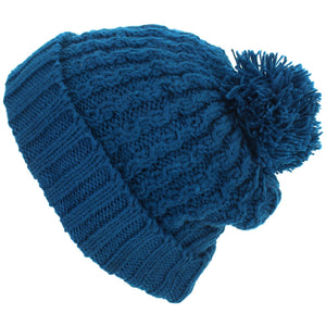 Cable Knit Bobble Beanie Hat - Blue