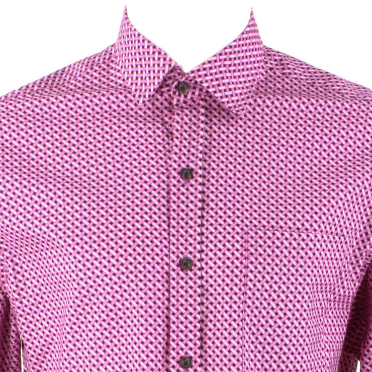 Regular Fit Long Sleeve Shirt - Pink & Purple Crosshatch