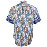 Regular Fit Short Sleeve Shirt - Grey & Blue Abstract