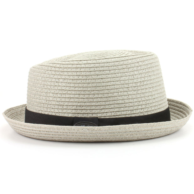 Straw Paper Pork Pie Hat - Light Grey