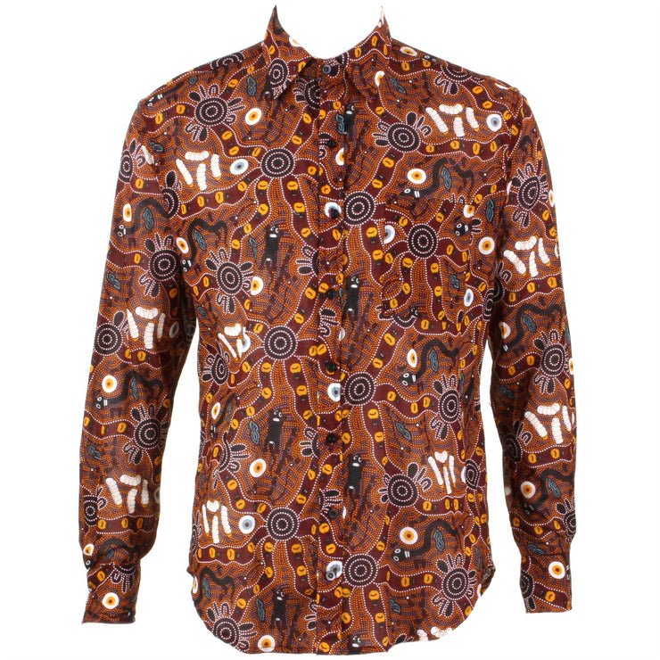 Regular Fit Long Sleeve Shirt - Red & Brown Abstract Australian