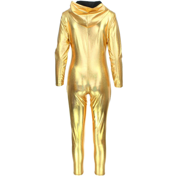 Shiny Hooded Catsuit - Gold