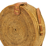 Loud Elephant Handwoven Round Rattan Bag - Brown Snap