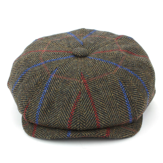 Tweed Peaky Blinders Gatsby Newsboy 8 Panel Flat Cap - Brown