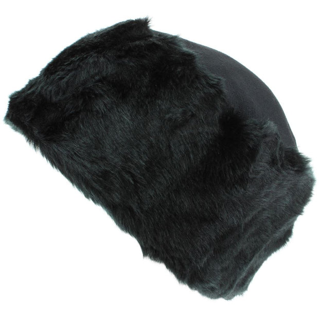 Ladies Faux Fur Hat with Jersey Crown - Black