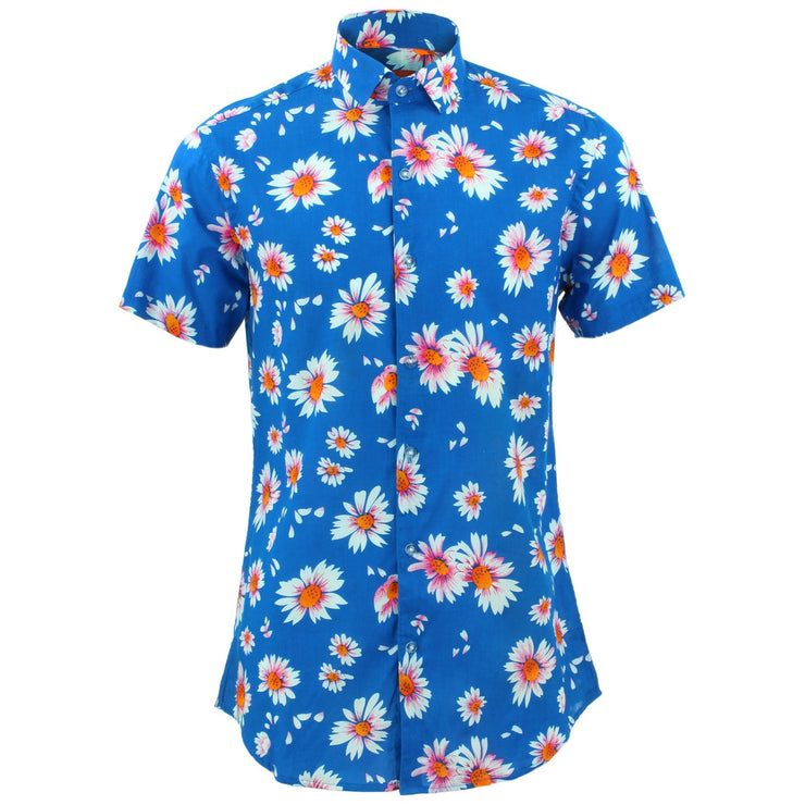 Tailored Fit Short Sleeve Shirt - Sky Daisies