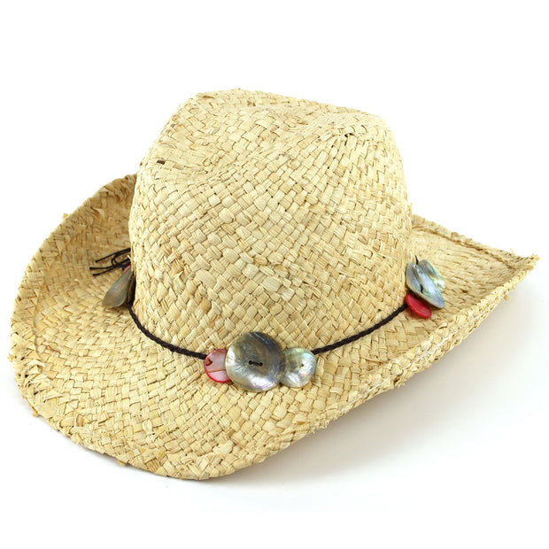 Straw Cowboy Hat with Shell Band