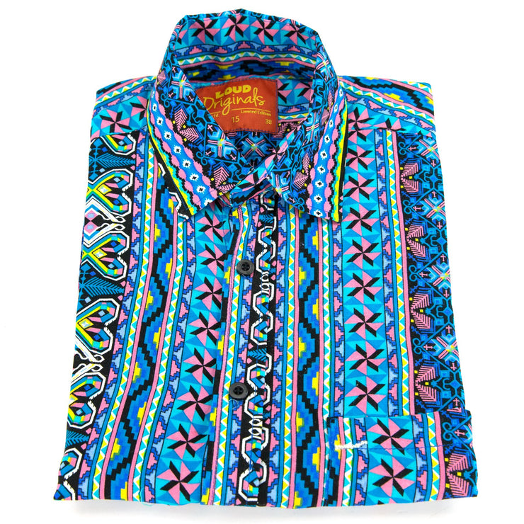 Regular Fit Short Sleeve Shirt - Geometric Aztec - Blue