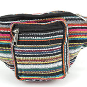 Canvas Bum Bag Money Belt Fanny Pack Black & Multi Mix