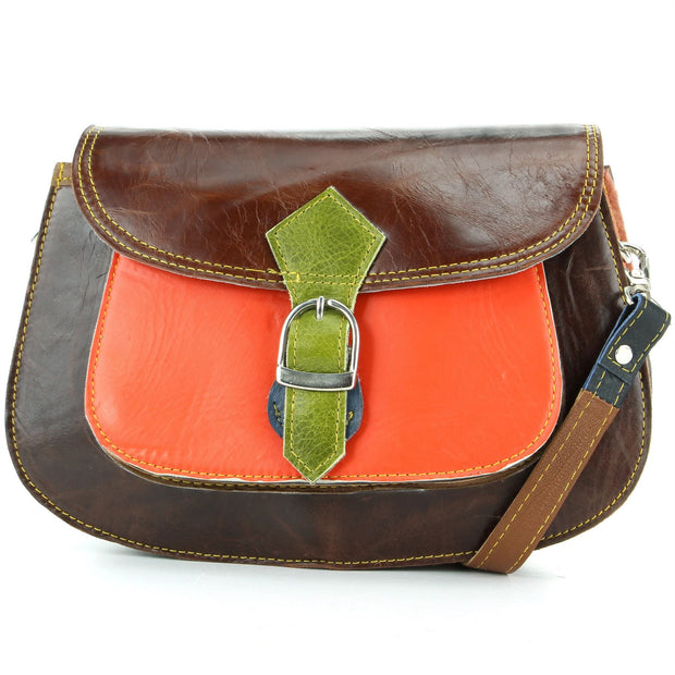 Real Leather Colourful Messenger Shoulder Bag - Orange Mix