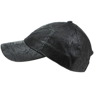 Leather Effect Baseball Cap - Black