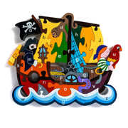 Handmade Wooden Jigsaw Puzzle - Alphabet Pirate Ship