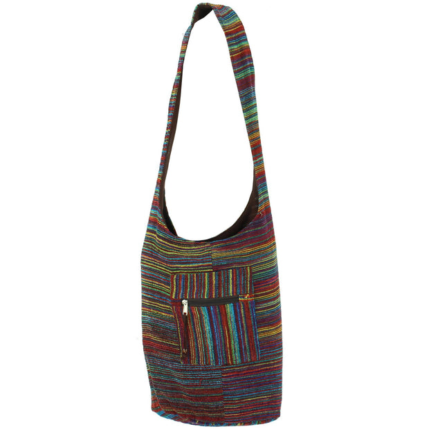 Striped Chenille Sling Shoulder Bag - Multi - Brown Lining