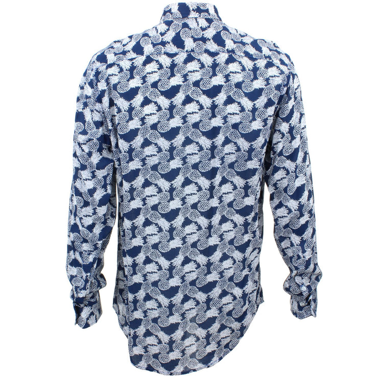 Tailored Fit Long Sleeve Shirt - Pineapples on Blue