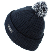 Childrens Beanie Hat with Turn-up and 2-Tone Bobble - Navy