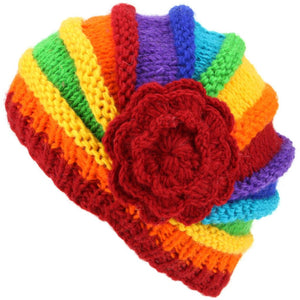 Ladies Chunky Wool Knit Shell Shaped Beanie Hat with Side Flower - Rainbow