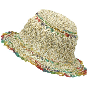 Hemp & Cotton Crochet Sun Hat - Natural Pastel