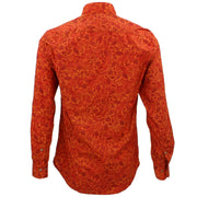 Tailored Fit Long Sleeve Shirt - Orange Geometric Leaves