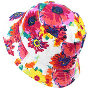 Bright Floral Print Reversible Bucket Hat - White
