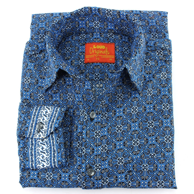 Tailored Fit Long Sleeve Shirt - Blue Indian Print