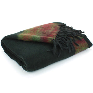 Tibetan Wool Blend Shawl Blanket - Black with Green & Red Reverse
