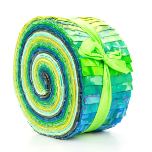 Cotton Batik Pre Cut Fabric Bundles - Jelly Roll - Sea Green
