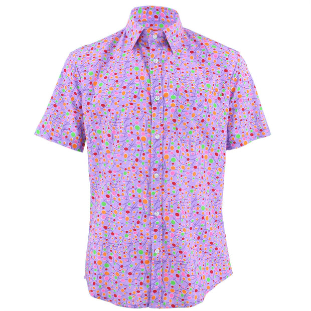 Tailored Fit Short Sleeve Shirt - Lilac Blobs