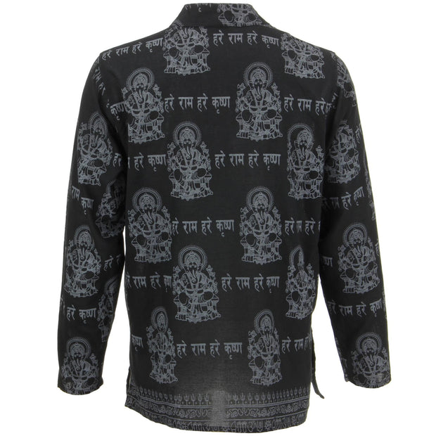 Long Sleeve 'Ganesh' Printed Nepalese Kurta Grandad Shirt - Black