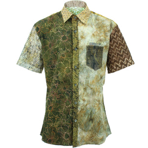 Regular Fit Short Sleeve Shirt - Random Mixed Batik - Brown