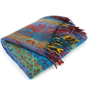 Vegan Wool Shawl Blanket - Paisley Stripe - Bright Blue & Green