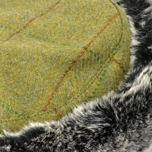 Flat Top Tweed Hat with Faux Fur cuff - Mid green