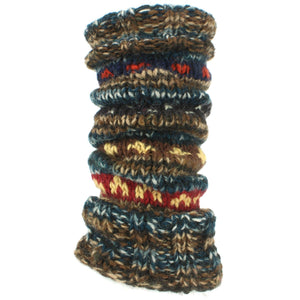 Chunky Wool Knit Abstract Pattern Leg Warmers - Blue & Brown