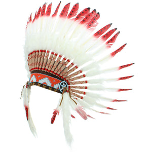 Native Amercian Chief Headdress - Red with Black Spots (White Fur)