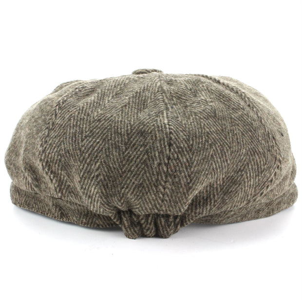 Wool Tweed Gatsby Newsboy 8 Panel Flat Cap Hat - Brown