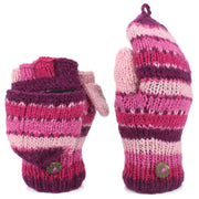 Chunky Wool Knit Fingerless Shooter Gloves - Stripe - Pink