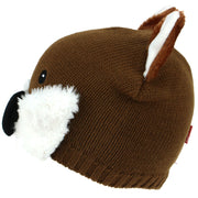 Fine Knit Animal Beanie Hat with Faux Fur Details - Fox