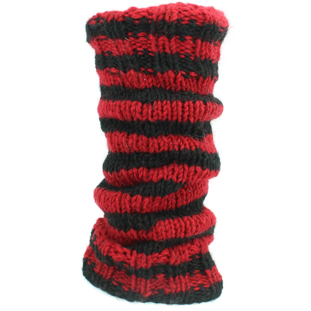 Chunky Wool Knit Leg Warmers - Red & Black