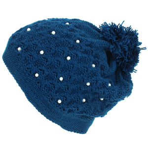 Pearl Lattice Bobble Beanie Hat - Blue