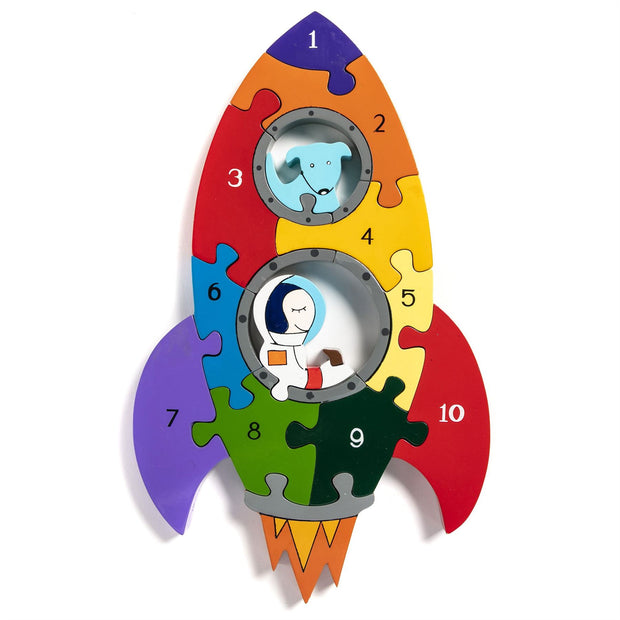 Handmade Wooden Jigsaw Puzzle - Number Rocket