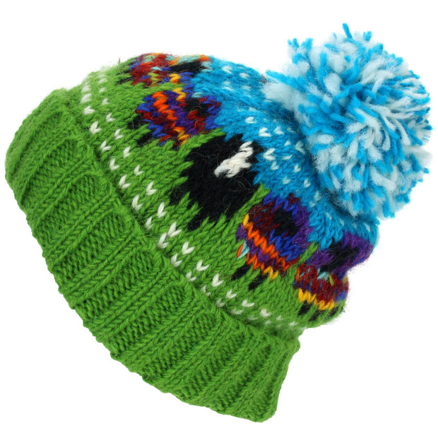 Chunky Wool Knit Beanie Bobble Hat with Sheep Design - Rainbow