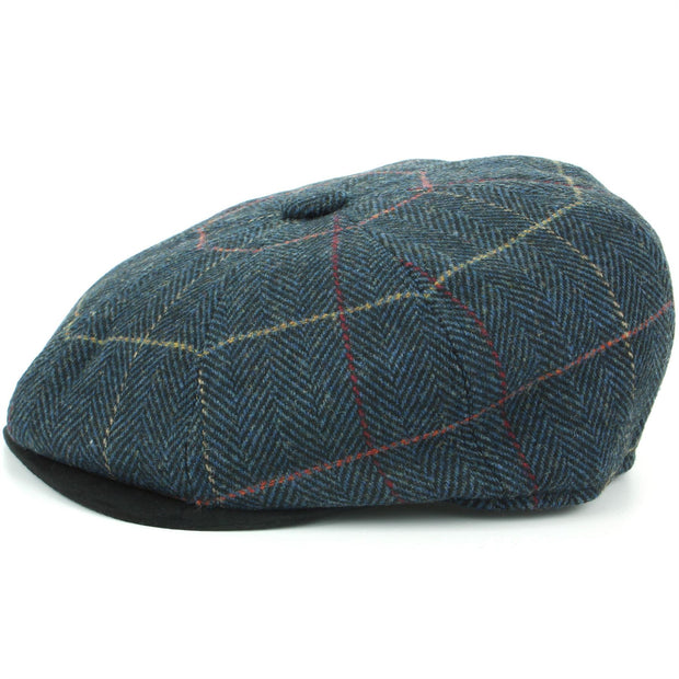 Tweed Peaky Blinders Gatsby Newsboy 8 Panel Flat Cap - Blue