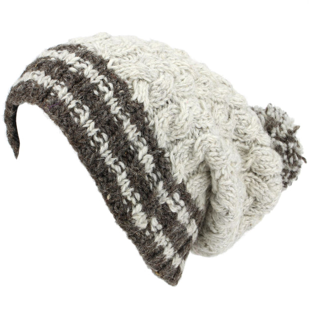 Chunky Wool Cable Knit Big Baggy Slouch Beanie Bobble Hat with Striped Brim - Off White