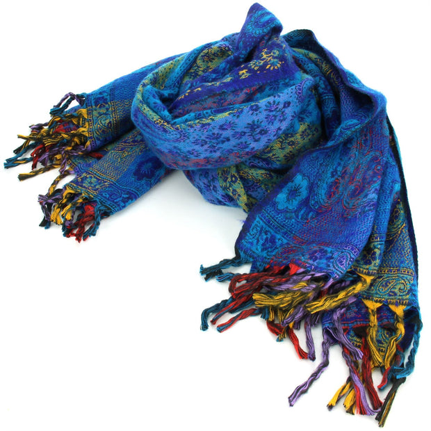 Vegan Wool Shawl Blanket - Paisley Stripe - Blues & Yellow