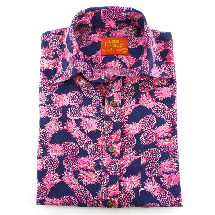 Tailored Fit Short Sleeve Shirt - Pink Pineapples