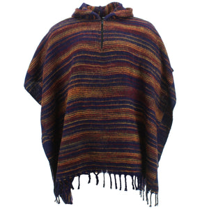 Hooded Square Poncho - Navy & Brown